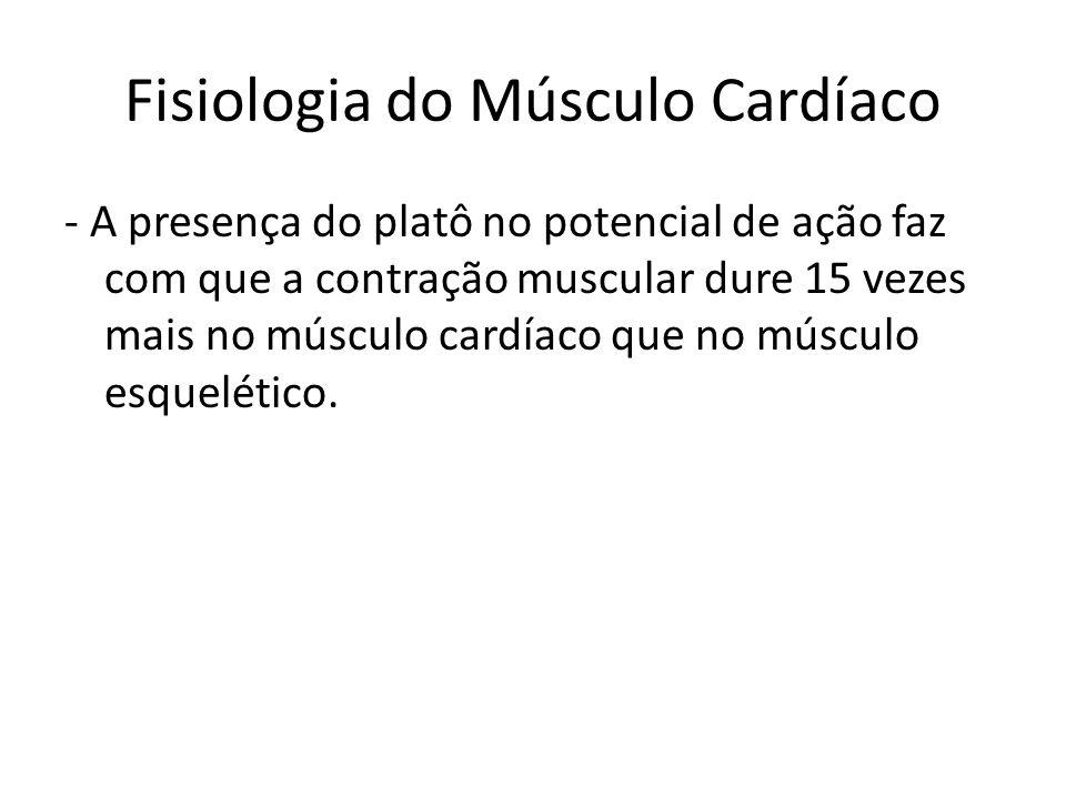 - A presença do platô no potencial de ação faz com que a contração muscular dure 15 vezes mais no músculo cardíaco que no músculo esquelético. Fisiolo