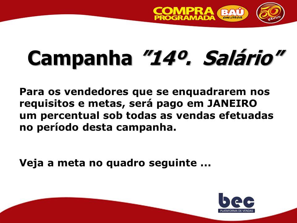 """Campanha """"14º. Salário"""" Para os vendedores que se enquadrarem nos requisitos e metas, será pago em JANEIRO um percentual sob todas as vendas efetuadas"""