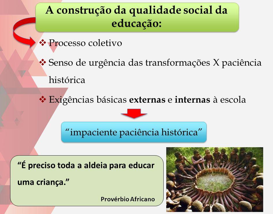 A construção da qualidade social da educação:  Processo coletivo  Senso de urgência das transformações X paciência histórica  Exigências básicas ex