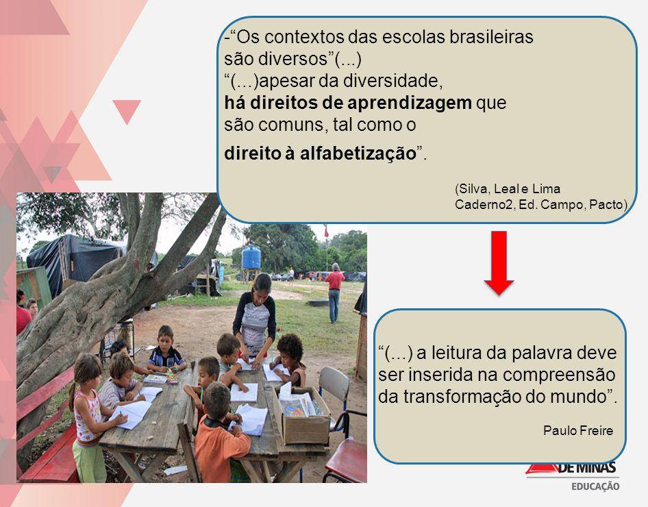 """-""""Os contextos das escolas brasileiras são diversos""""(...) """"(...)apesar da diversidade, há direitos de aprendizagem que são comuns, tal como o direito"""