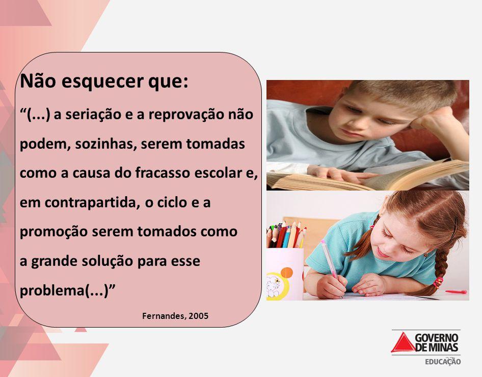 """Não esquecer que: """"(...) a seriação e a reprovação não podem, sozinhas, serem tomadas como a causa do fracasso escolar e, em contrapartida, o ciclo e"""