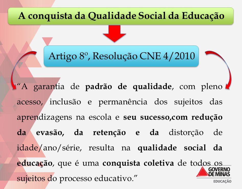 """A conquista da Qualidade Social da Educação """"A garantia de padrão de qualidade, com pleno acesso, inclusão e permanência dos sujeitos das aprendizagen"""