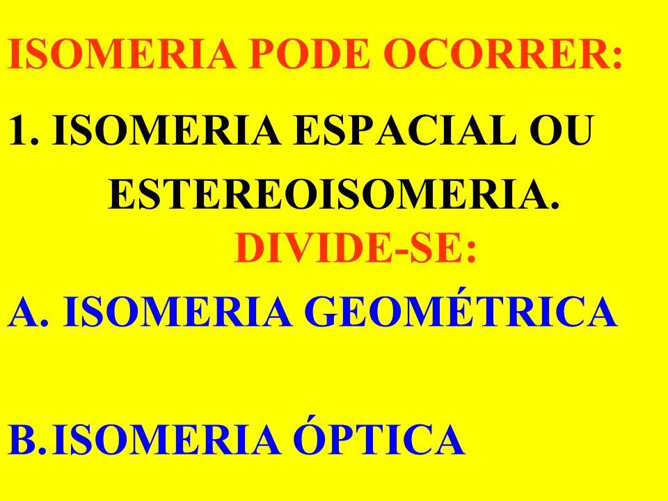 ISOMERIA CONDIÇÕES: Mesma Fórmula Molecular. e