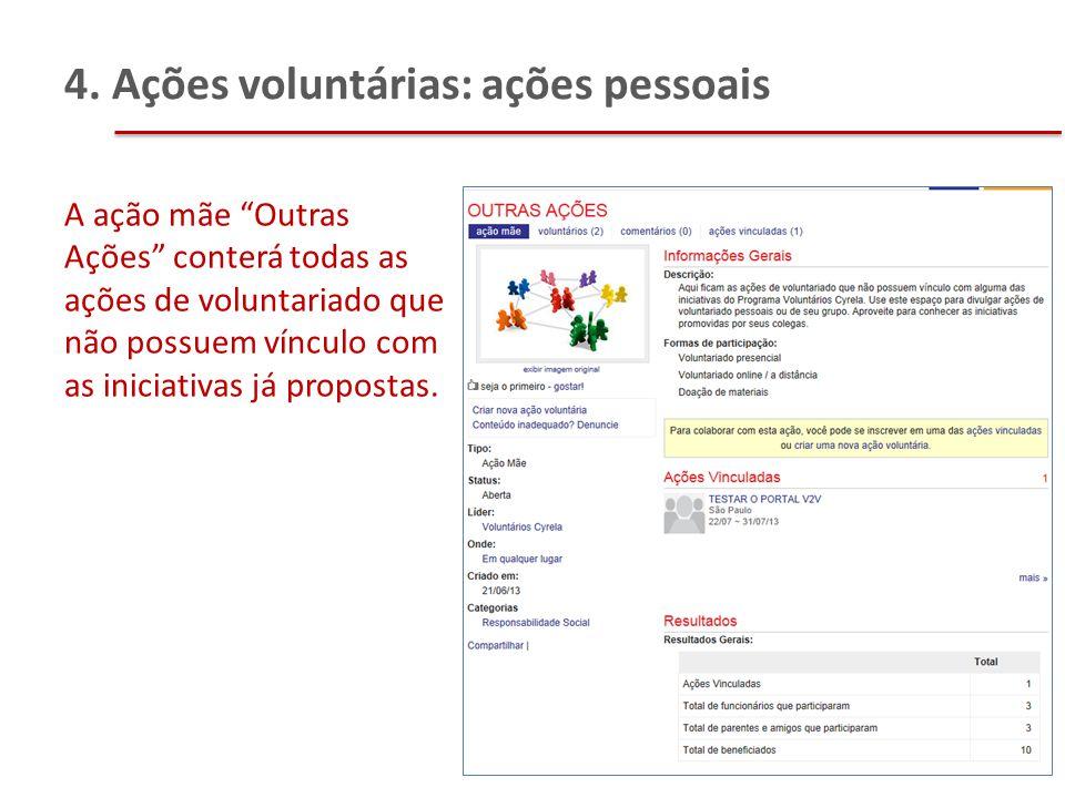 """4. Ações voluntárias: ações pessoais A ação mãe """"Outras Ações"""" conterá todas as ações de voluntariado que não possuem vínculo com as iniciativas já pr"""