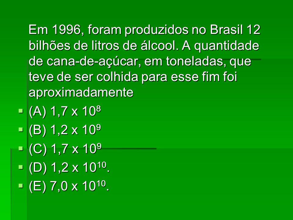 Em 1996, foram produzidos no Brasil 12 bilhões de litros de álcool.