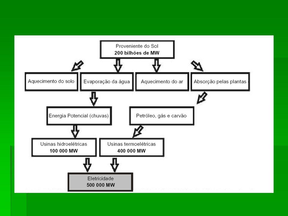  De acordo com o diagrama, a humanidade aproveita, na forma de energia elétrica, uma fração da energia recebida como  radiação solar, correspondente a:  (A) 4.10 -9  (B) 2,5.10 -6  (C) 4.10 -4  (D) 2,5.10 -3  (E) 4.10 -2