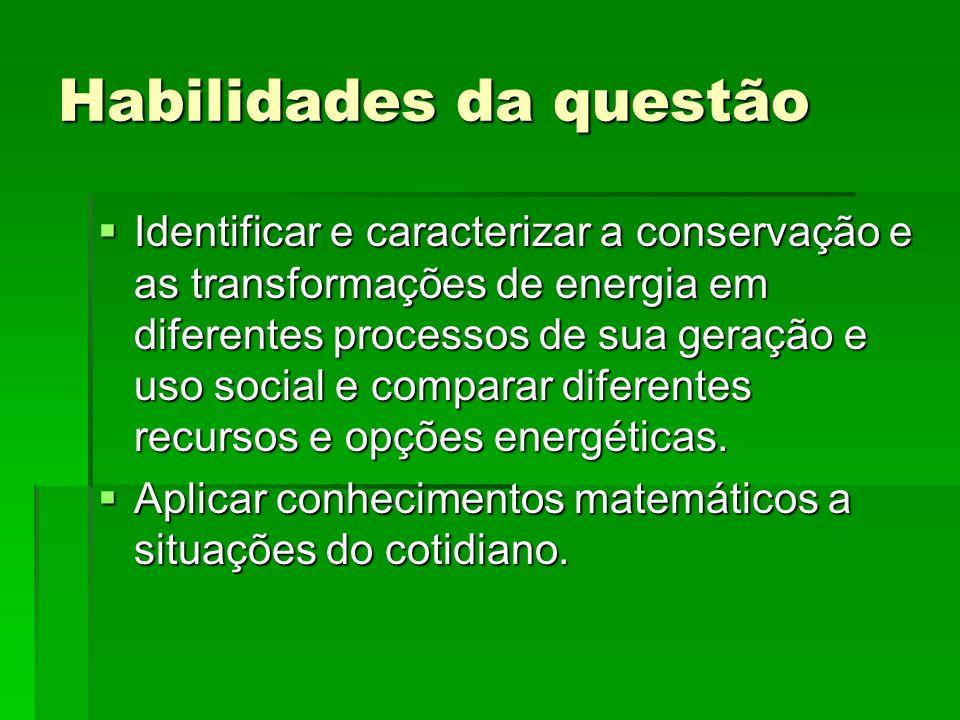 Habilidades da questão  Identificar e caracterizar a conservação e as transformações de energia em diferentes processos de sua geração e uso social e comparar diferentes recursos e opções energéticas.