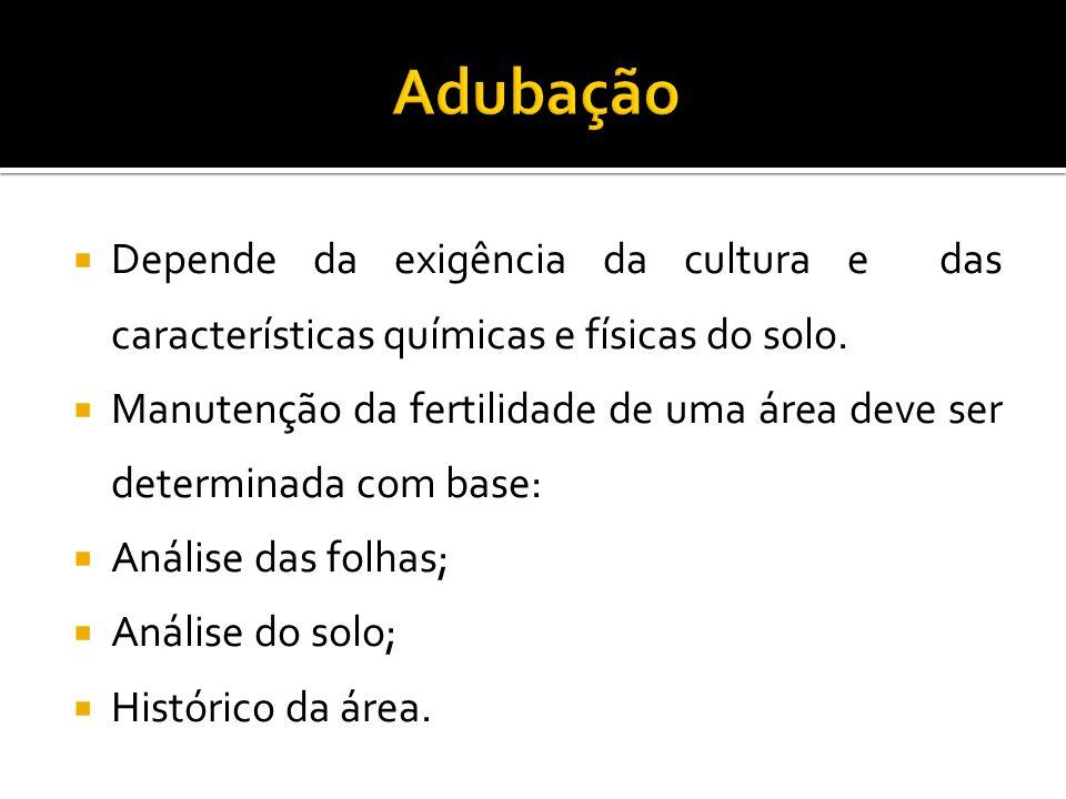  Depende da exigência da cultura e das características químicas e físicas do solo.  Manutenção da fertilidade de uma área deve ser determinada com b