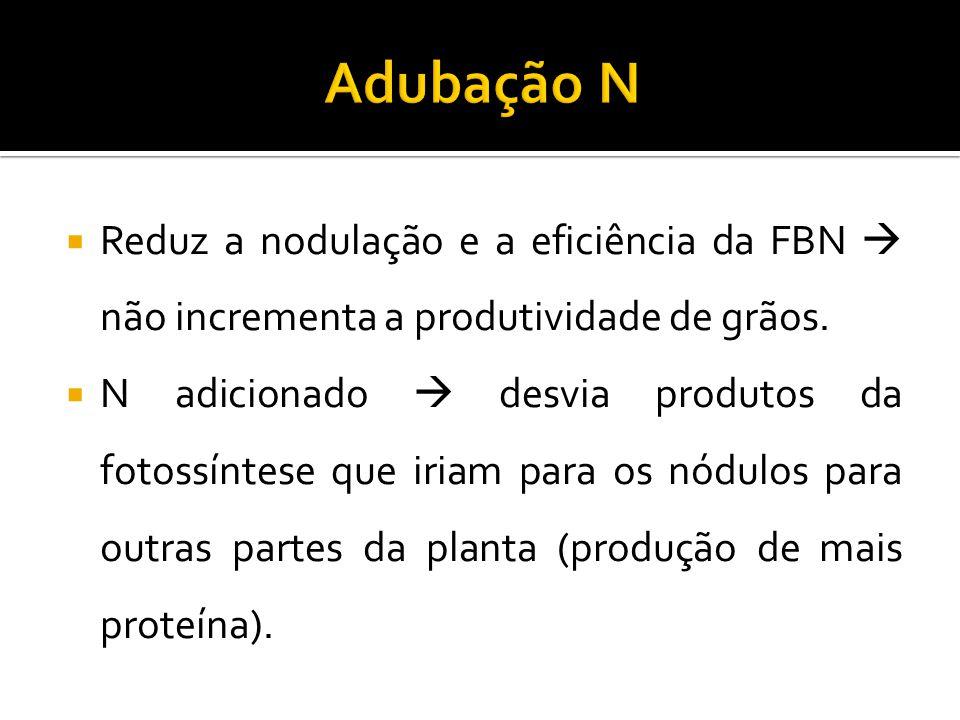  Reduz a nodulação e a eficiência da FBN  não incrementa a produtividade de grãos.  N adicionado  desvia produtos da fotossíntese que iriam para o