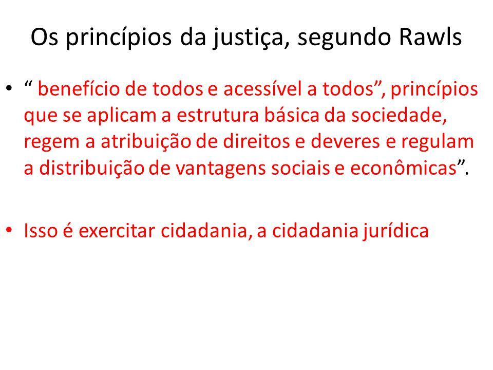 """Os princípios da justiça, segundo Rawls • """" benefício de todos e acessível a todos"""", princípios que se aplicam a estrutura básica da sociedade, regem"""