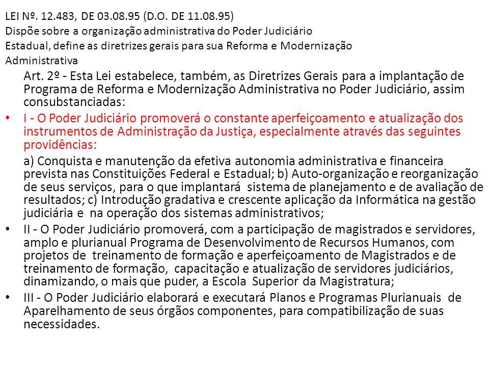LEI Nº. 12.483, DE 03.08.95 (D.O. DE 11.08.95) Dispõe sobre a organização administrativa do Poder Judiciário Estadual, define as diretrizes gerais par