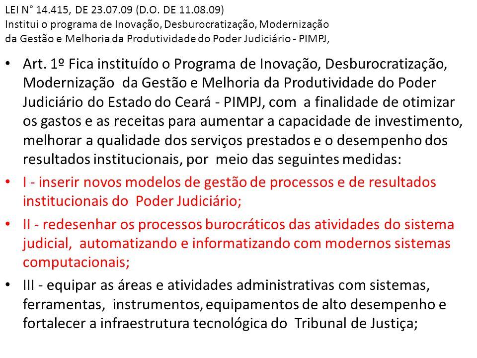 LEI N° 14.415, DE 23.07.09 (D.O. DE 11.08.09) Institui o programa de Inovação, Desburocratização, Modernização da Gestão e Melhoria da Produtividade d