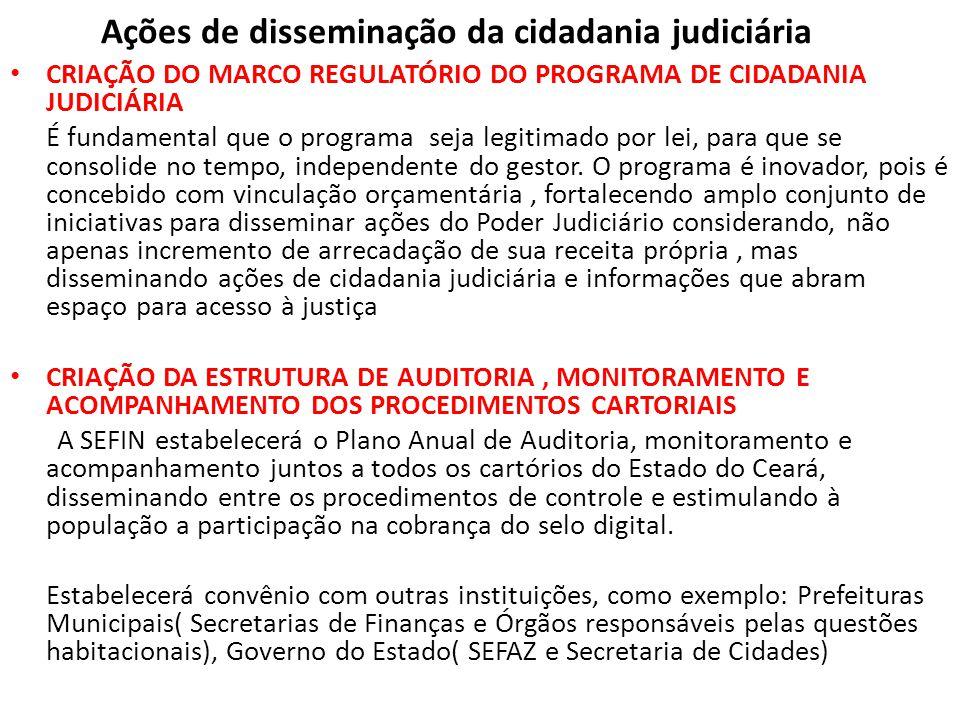 Ações de disseminação da cidadania judiciária • CRIAÇÃO DO MARCO REGULATÓRIO DO PROGRAMA DE CIDADANIA JUDICIÁRIA É fundamental que o programa seja leg