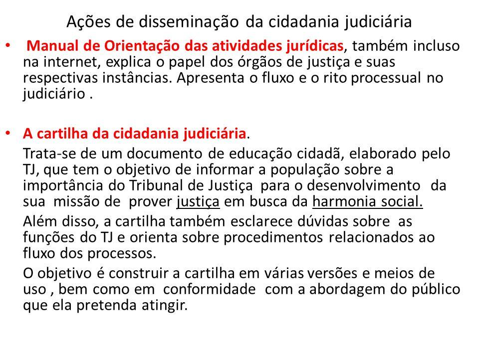 Ações de disseminação da cidadania judiciária • Manual de Orientação das atividades jurídicas, também incluso na internet, explica o papel dos órgãos