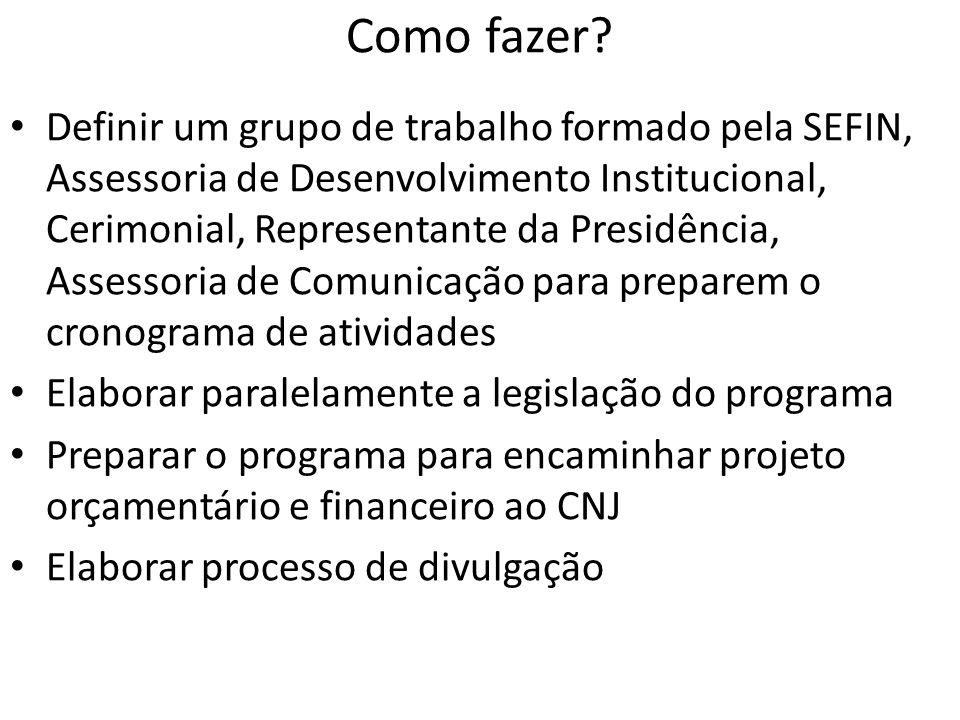 Como fazer? • Definir um grupo de trabalho formado pela SEFIN, Assessoria de Desenvolvimento Institucional, Cerimonial, Representante da Presidência,