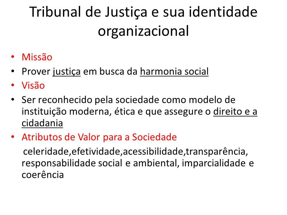 Tribunal de Justiça e sua identidade organizacional • Missão • Prover justiça em busca da harmonia social • Visão • Ser reconhecido pela sociedade com