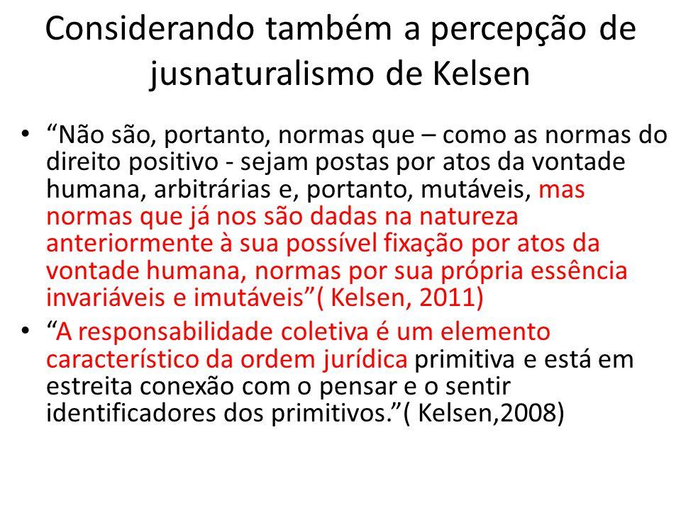 """Considerando também a percepção de jusnaturalismo de Kelsen • """"Não são, portanto, normas que – como as normas do direito positivo - sejam postas por a"""