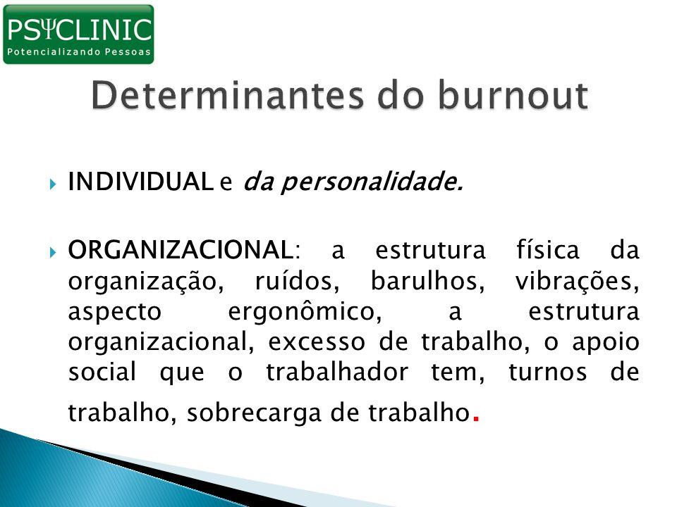  INDIVIDUAL e da personalidade.  ORGANIZACIONAL: a estrutura física da organização, ruídos, barulhos, vibrações, aspecto ergonômico, a estrutura org