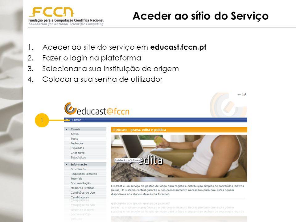 Aceder ao sítio do Serviço 1.Aceder ao site do serviço em educast.fccn.pt 2.Fazer o login na plataforma 3.Selecionar a sua instituição de origem 4.Colocar a sua senha de utilizador 1