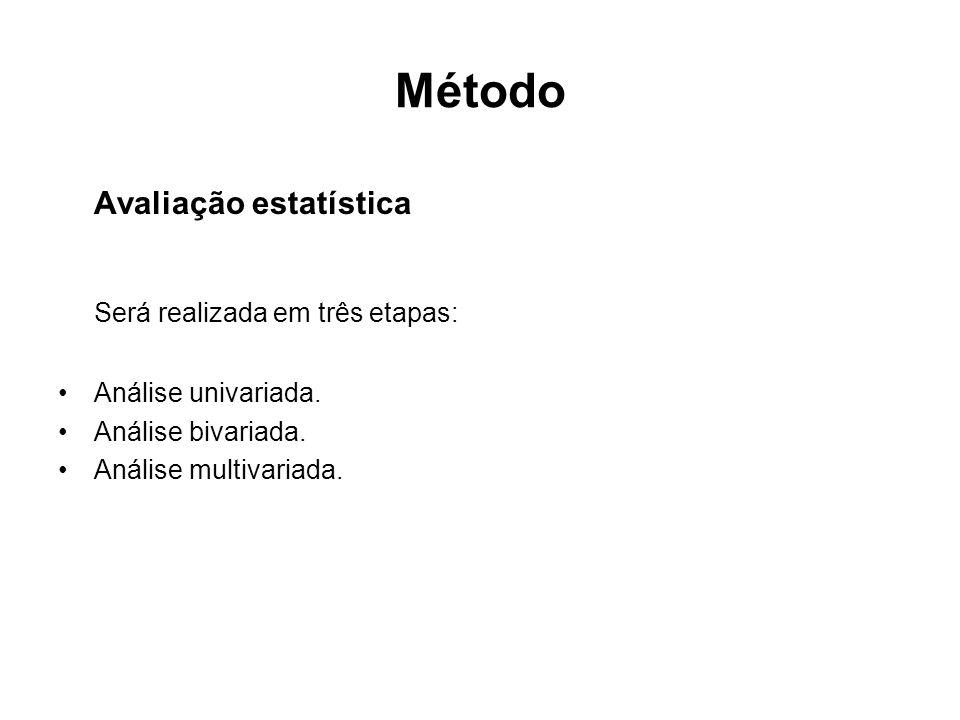 Método Avaliação estatística Será realizada em três etapas: •Análise univariada.