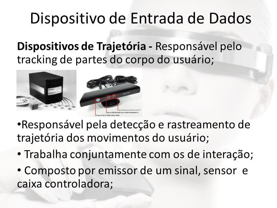 Dispositivo de Entrada de Dados Dispositivos de Trajetória - Responsável pelo tracking de partes do corpo do usuário; • Responsável pela detecção e ra
