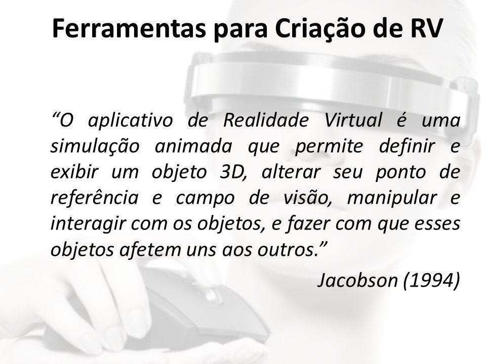 """Ferramentas para Criação de RV """"O aplicativo de Realidade Virtual é uma simulação animada que permite definir e exibir um objeto 3D, alterar seu ponto"""