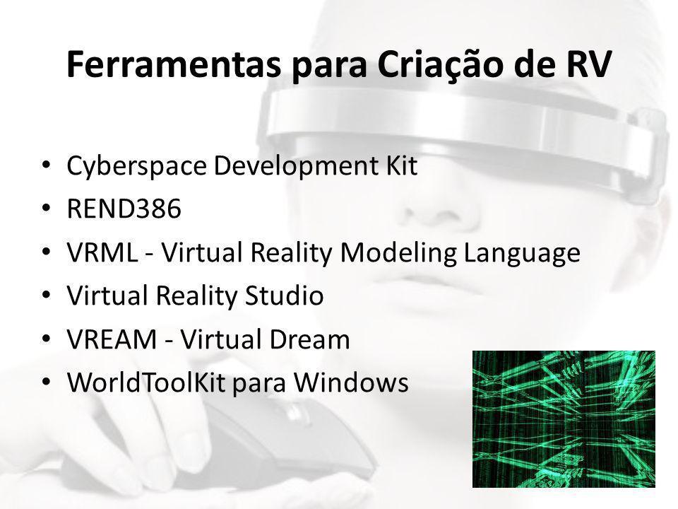 Ferramentas para Criação de RV • Cyberspace Development Kit • REND386 • VRML - Virtual Reality Modeling Language • Virtual Reality Studio • VREAM - Vi