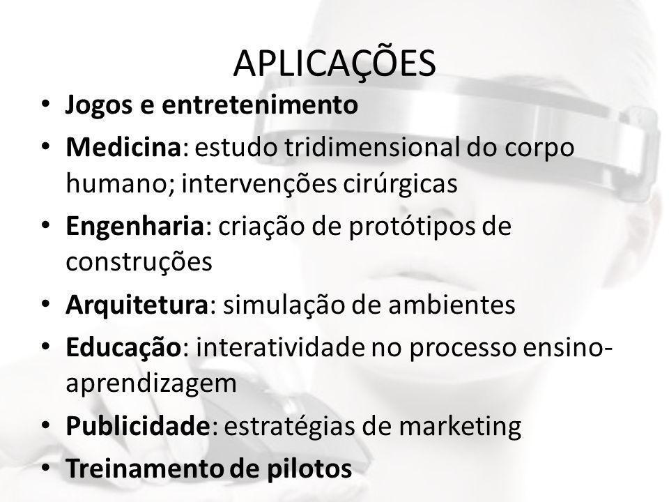 APLICAÇÕES • Jogos e entretenimento • Medicina: estudo tridimensional do corpo humano; intervenções cirúrgicas • Engenharia: criação de protótipos de