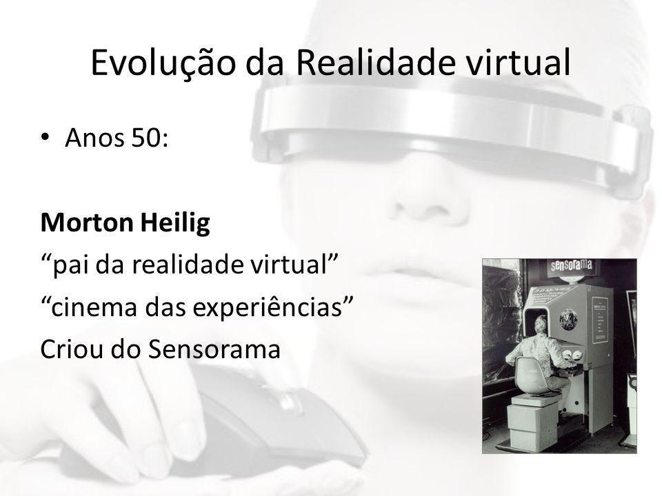 """Evolução da Realidade virtual • Anos 50: Morton Heilig """"pai da realidade virtual"""" """"cinema das experiências"""" Criou do Sensorama"""