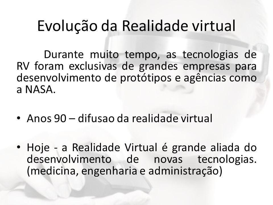 Evolução da Realidade virtual Durante muito tempo, as tecnologias de RV foram exclusivas de grandes empresas para desenvolvimento de protótipos e agên