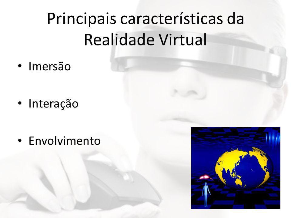 Principais características da Realidade Virtual • Imersão • Interação • Envolvimento