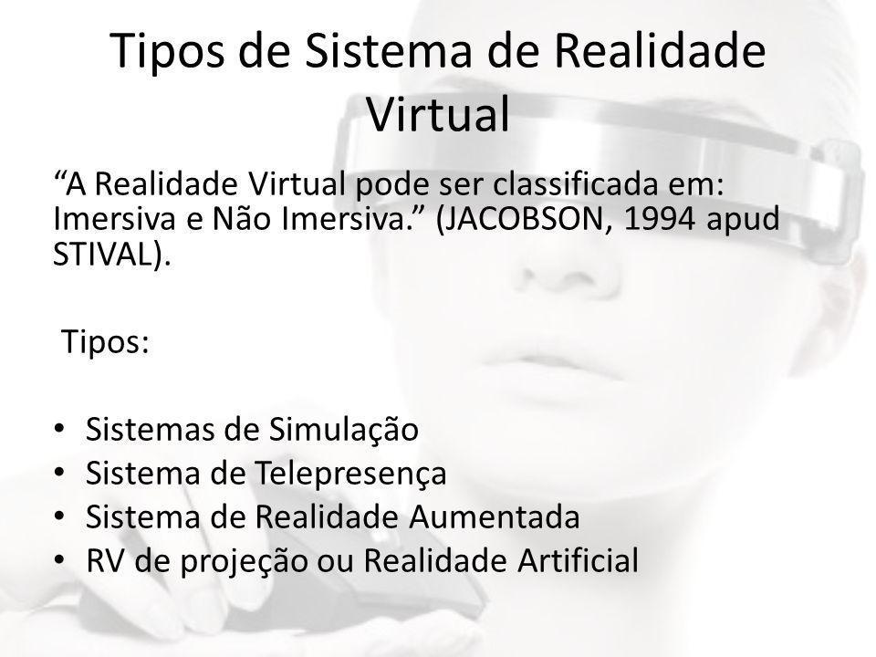 """Tipos de Sistema de Realidade Virtual """"A Realidade Virtual pode ser classificada em: Imersiva e Não Imersiva."""" (JACOBSON, 1994 apud STIVAL). Tipos: •"""