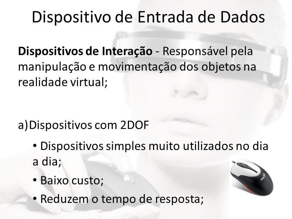 Dispositivo de Entrada de Dados Dispositivos de Interação - Responsável pela manipulação e movimentação dos objetos na realidade virtual; a)Dispositiv