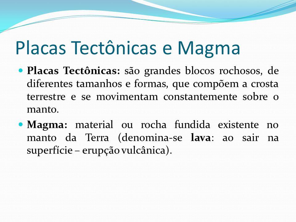 Placas Tectônicas e Magma  Placas Tectônicas: são grandes blocos rochosos, de diferentes tamanhos e formas, que compõem a crosta terrestre e se movimentam constantemente sobre o manto.