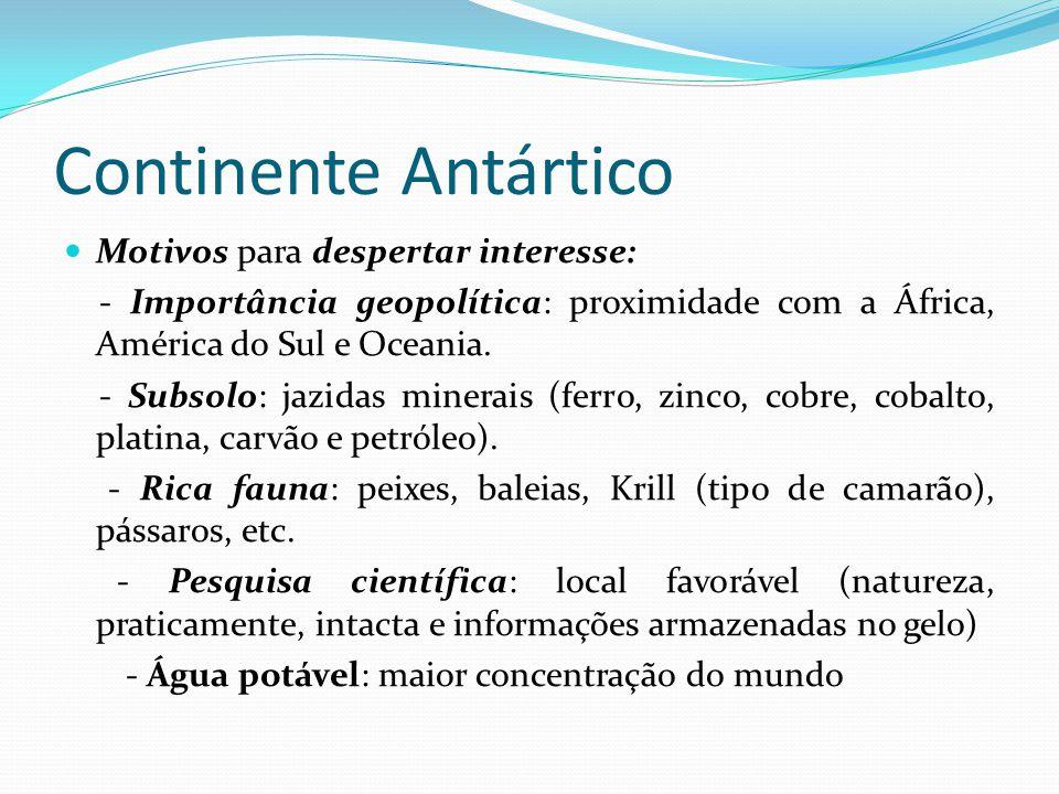 Continente Antártico  Motivos para despertar interesse: - Importância geopolítica: proximidade com a África, América do Sul e Oceania.
