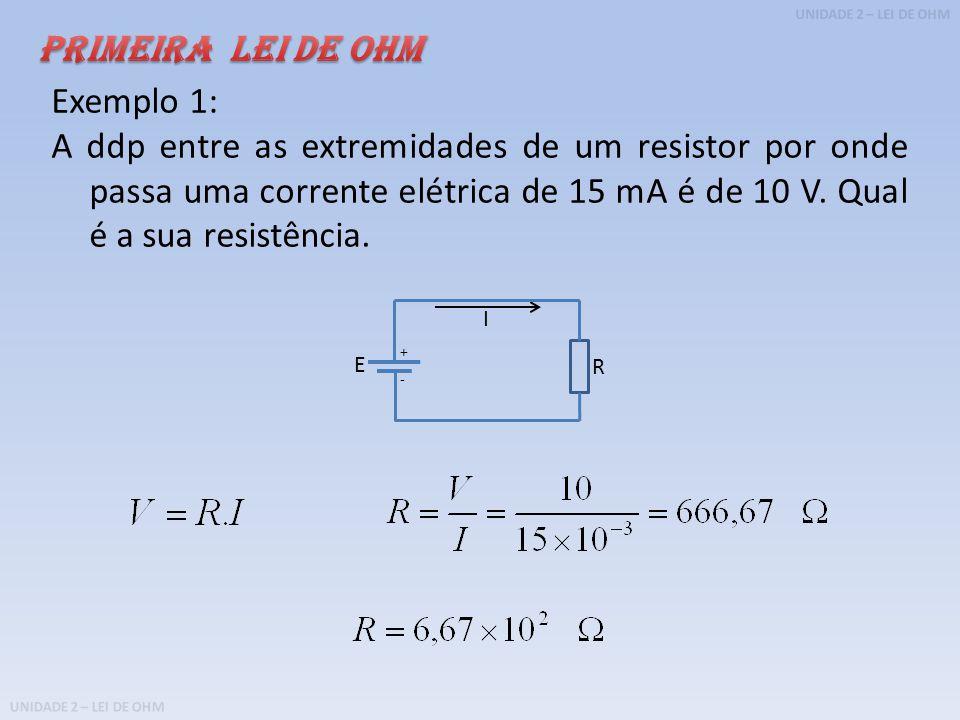 UNIDADE 2 – LEI DE OHM Exemplo 1: A ddp entre as extremidades de um resistor por onde passa uma corrente elétrica de 15 mA é de 10 V.