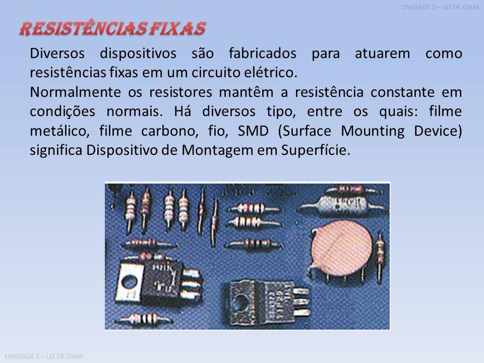UNIDADE 2 – LEI DE OHM Diversos dispositivos são fabricados para atuarem como resistências fixas em um circuito elétrico.