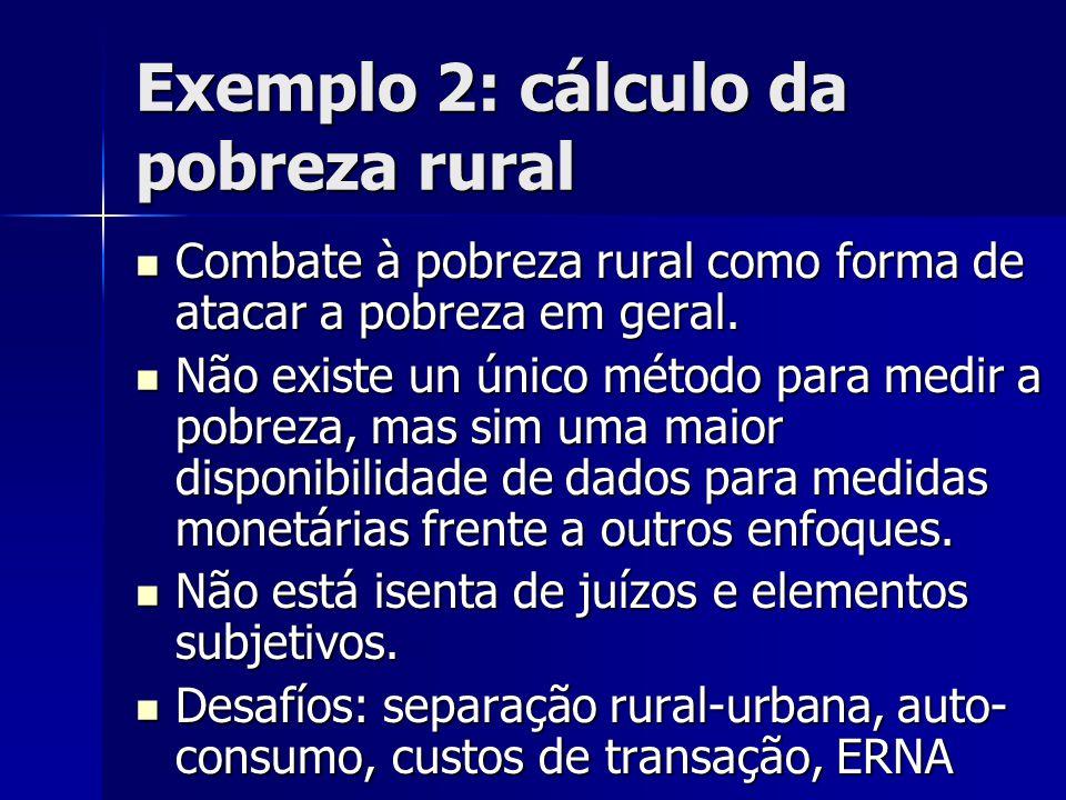 Exemplo 2: cálculo da pobreza rural  Combate à pobreza rural como forma de atacar a pobreza em geral.