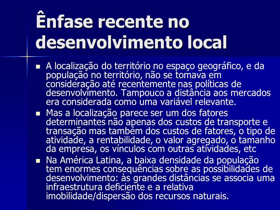 Ênfase recente no desenvolvimento local   A localização do território no espaço geográfico, e da população no território, não se tomava em consideração até recentemente nas políticas de desenvolvimento.