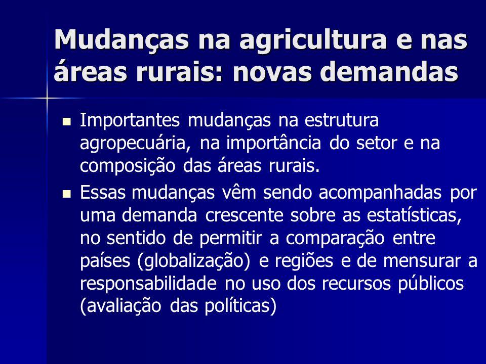 Mudanças na agricultura e nas áreas rurais: novas demandas   Importantes mudanças na estrutura agropecuária, na importância do setor e na composição das áreas rurais.