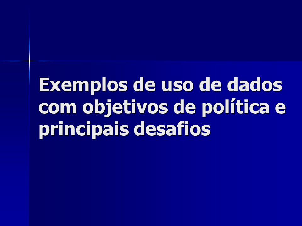 Exemplos de uso de dados com objetivos de política e principais desafios