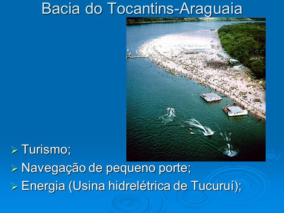 Bacia do Tocantins-Araguaia  Turismo;  Navegação de pequeno porte;  Energia (Usina hidrelétrica de Tucuruí);