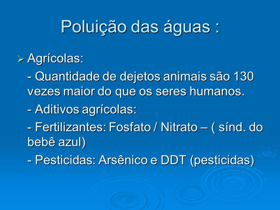 Poluição das águas :  Agrícolas: - Quantidade de dejetos animais são 130 vezes maior do que os seres humanos. - Aditivos agrícolas: - Fertilizantes: