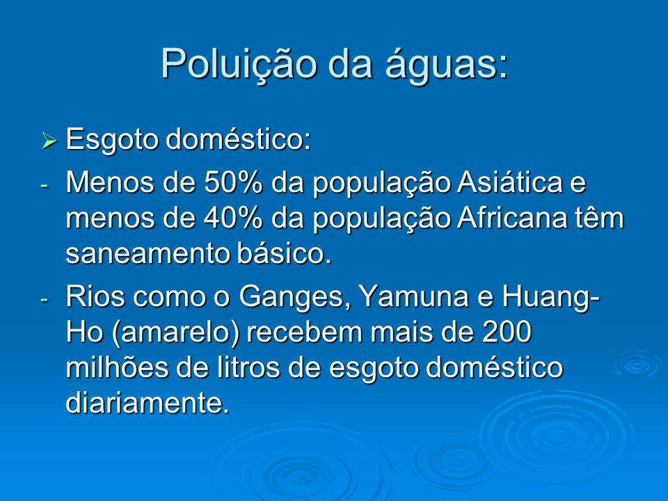 Poluição da águas:  Esgoto doméstico: - Menos de 50% da população Asiática e menos de 40% da população Africana têm saneamento básico. - Rios como o