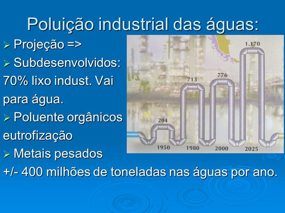 Poluição industrial das águas:  Projeção =>  Subdesenvolvidos: 70% lixo indust. Vai para água.  Poluente orgânicos eutrofização  Metais pesados +/