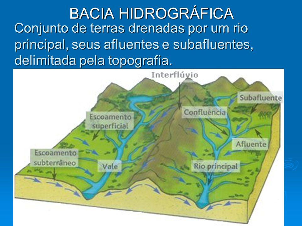BACIA HIDROGRÁFICA Conjunto de terras drenadas por um rio principal, seus afluentes e subafluentes, delimitada pela topografia. Conjunto de terras dre