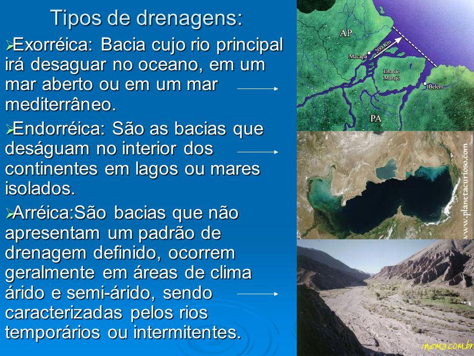 Tipos de drenagens:  Exorréica: Bacia cujo rio principal irá desaguar no oceano, em um mar aberto ou em um mar mediterrâneo.  Endorréica: São as bac
