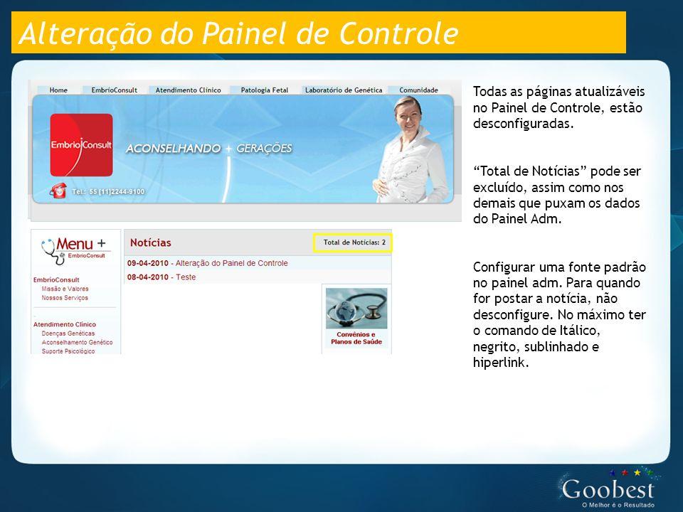 Alteração do Painel de Controle Todas as páginas atualizáveis no Painel de Controle, estão desconfiguradas.