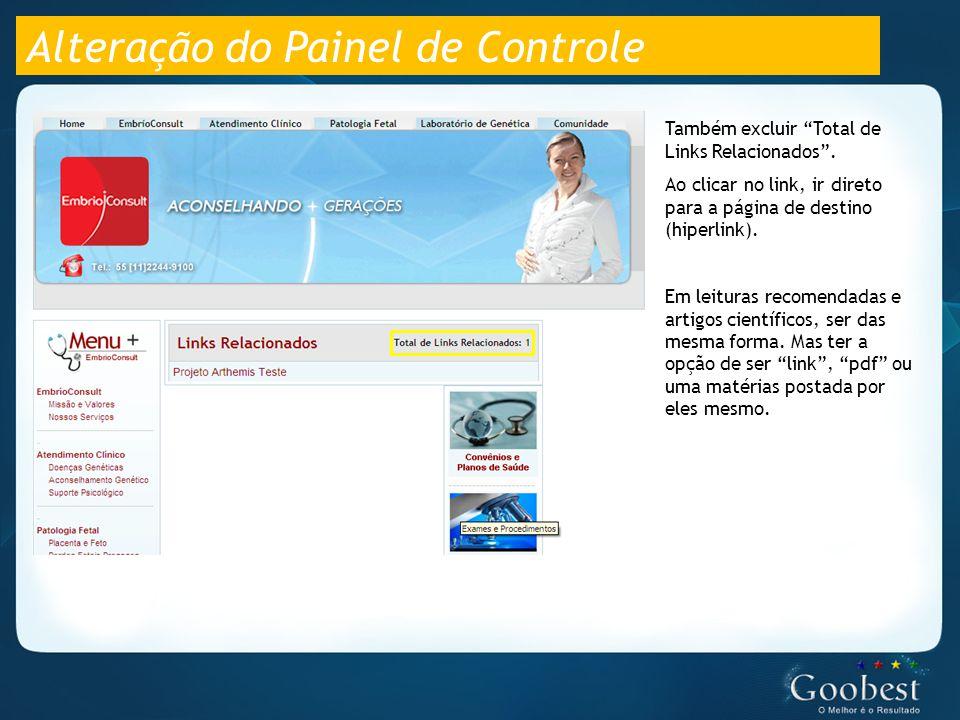 Alteração do Painel de Controle Também excluir Total de Links Relacionados .