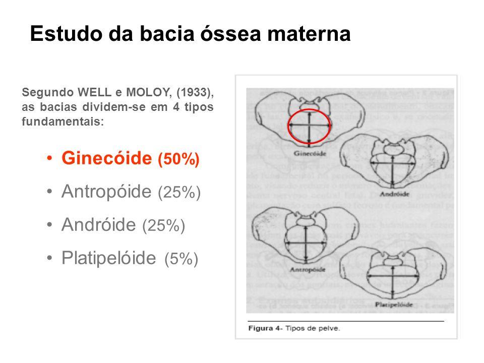 Estudo da bacia óssea materna •Ginecóide (50%) •Antropóide (25%) •Andróide (25%) •Platipelóide (5%) Segundo WELL e MOLOY, (1933), as bacias dividem-se